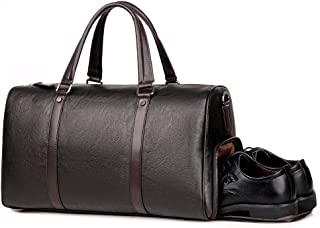 Men Leather Small Duffels Weekender Overnight Gym Business Bags For Men Travel