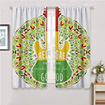 Rasta for Bedroom Blackout Curtains Reggae Music Makes Me Feel Good Quote Jamaican Island Culture Iconic Guitar Blackout Curtains for The Living Room W63 x L72 Inch Green Yellow and Red