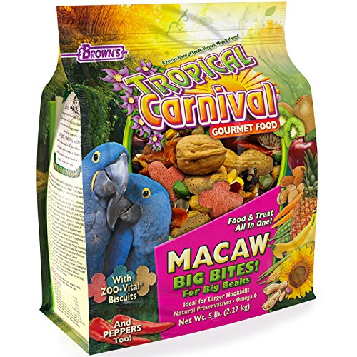 F.M. Brown's Tropical Carnival Gourmet Macaw Food Big Bites for Big Beaks, 5-lb Bag - Vitamin-Nutrient Fortified Daily Diet with Probiotics for Digestive Health