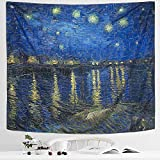 IcosaMro Starry Night Tapestry Wall Hanging, Van Gogh Art Wall Tapestries [Double-Folded Hems]-Star Blanket for Bedroom, Dorm, College, Living Room (Starry Night Over The Rhone,51x60 Inch)