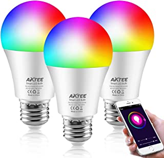 AXTEE Smart WiFi Light Bulb, RGBW Dimmable Color Changing LED Bulbs E26 7W(60W Equivalent)with Remote Control, No Hub Required, Compatible with Alexa, Echo,Google Home and IFTTT for Home/Party(3 Pack)