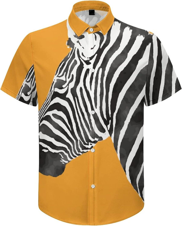 Men's Regular-Fit Short-Sleeve Printed Party Holiday Shirt Zebra Orange Back