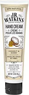 J.R. Watkins Natural Moisturizing Hand Cream, Coconut, Hydrating Hand Moisturizer with Shea Butter, Cocoa Butter, and Avocado Oil, USA Made and Cruelty Free, 3.3oz