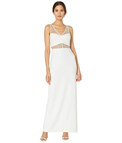 Adrianna Papell Illusion Crepe Column Gown (Ivory) Women