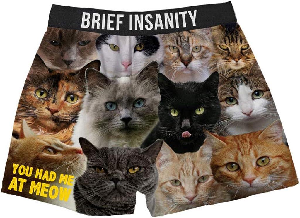 BRIEF INSANITY Men's Boxer Shorts Underwear Mixed Cat Breeds Print