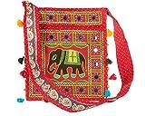Tribe Azure Hobo Bandorela Elefante Rojo Bolso De Hombro Con Espejos Bordado Espacioso Bolso Colorido Casual Para Uso Diario Hippy Boho Escarlata