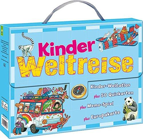 Kinder-Weltreise-Koffer: Kinderweltatlas - 50 Quizkarten - Memo-Spiel - Europakarte