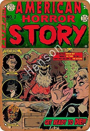 No/Brand American Horror Story Targa in Metallo Retro in Metallo Verniciato Art Poster Decorazione Avvertimento Targa Bar Garage Giardino Cortile Regalo