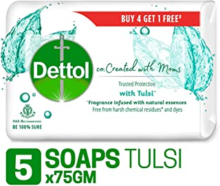 Dettol Co-created with moms Tulsi Beauty Bathing Soap, 75gm (Buy 4 Get 1 Free)