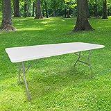 Table Pliante 180 cm d'Appoint Rectangulaire Blanche - Table de Camping 8 personnes L180 x l74 x H74cm en HDPE...