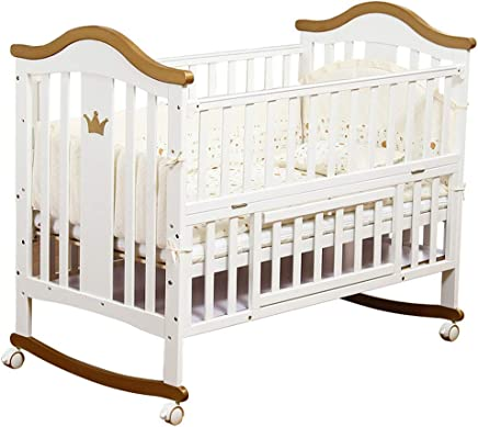 ALBB White Wooden Baby Cot bed with storage 125 105cm Mattress Safety Wooden Barrier Teething Rails Converts from Cot Bed Toddler Desk  amp  Sofa Bed