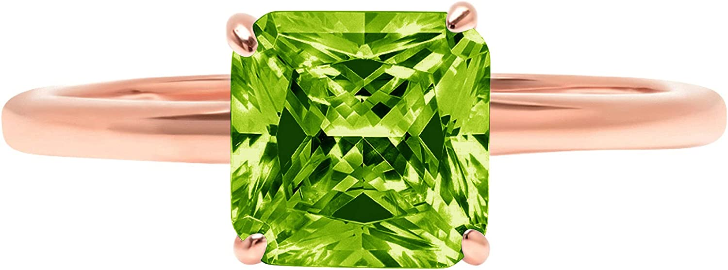 2.4ct Brilliant Asscher Cut Solitaire Genuine Natural Vivid Green Peridot Ideal VVS1 4-Prong Engagement Wedding Bridal Promise Anniversary Ring Solid 14k Rose Gold for Women