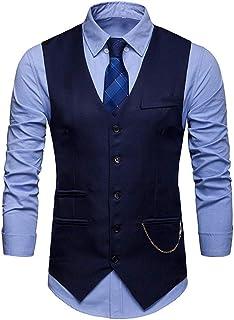 Men's Slim Fit V-Neck Wedding Waistcoat Casual Regular Fit Business Suit Vests Formal Wedding Party Waistcoat Cotton Solid...