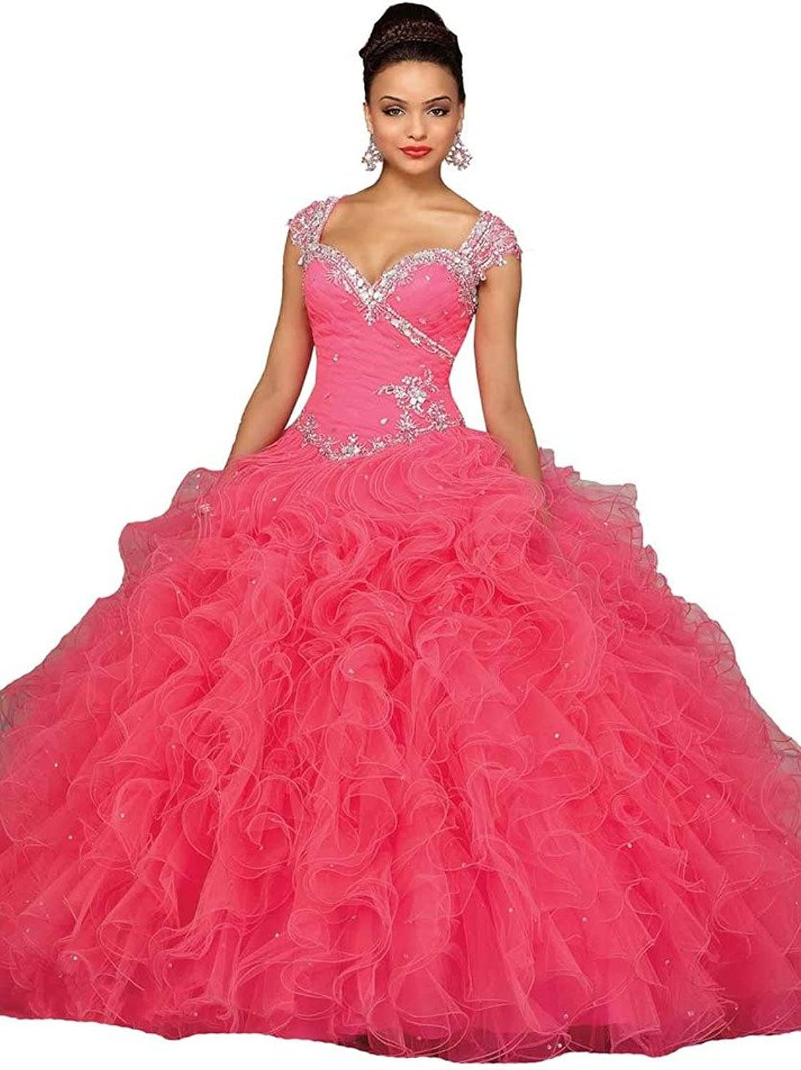 HSDJ Women's Ruched Beading Bodice Tiered Ball Gown Quinceanera Dresses 14 US Watermelon