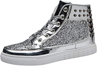 DGG7 Men's Casual Shoes Fashion Trend Wild Rivet Sequins in The Tube Flat Non-Slip Shoes
