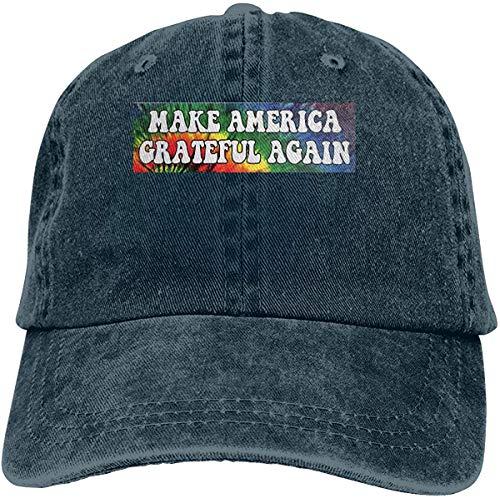 YeeATZ Gorra de béisbol para adultos Make America Grateful Again Denim azul marino Talla única