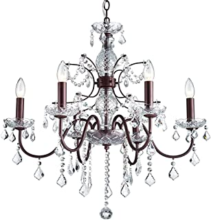 Saint Mossi Modern K9 Crystal Chandelier Lighting Flush Mount LED Ceiling Light Fixture Pendant Chandelier for Livingroom 6 E12 Bulbs Required Width 26 inch x Height 22 inch