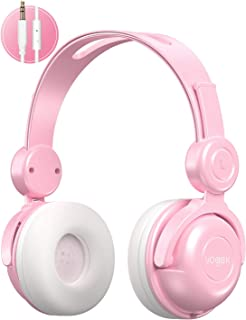 Kids Headphones, Vogek Wired On-Ear Child Headphone Headset with Mic, HD Sound Sharing Function and 85dB Volume Limited Hearing Protection for Phone Tablet PC Kindle (Pink)