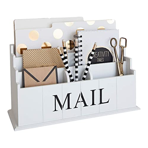 MyGift Rustic Gray Wood Desktop Office Document & Mail ...  Desktop Mail Organizer For Kitchen