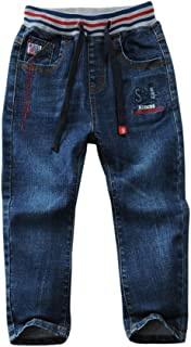 SITENG Drawstring Waistband Jeans Little Boys' Straight Fit Denim Pants for Boys Toddlers Kids