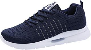 Waymine Men's Sneakers Breathable Mesh Lace Up Running Walking Shoes Solid Leisure Sport Shoes Basketball Shoes