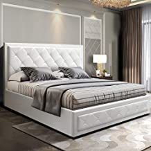 Artiss King Size Leather Bed Frame with Gas Lift Storage White