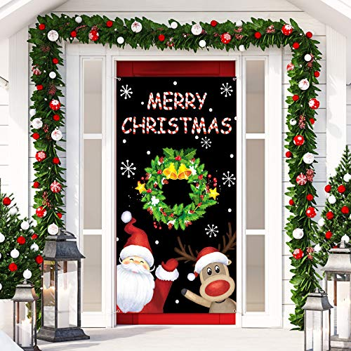 Merry Christmas Door Cover Xmas Theme Photo Booth Prop Reindeer Snowflake Santa Backdrop for Photography Hanging Decorations for House Door Winter Party Holiday Xmas Eve