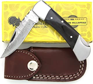 Wild Turkey Handmade Damascus Steel Collection Folding Pocket Knife w/Leather Sheath Hunting Camping Fishing Outdoors Sharp Blade