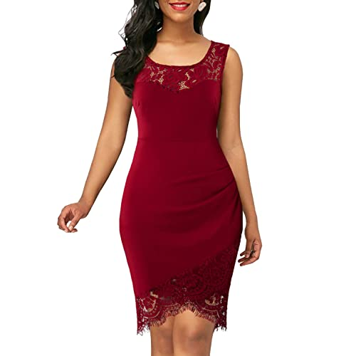 0f430f39fbe BOKALY Women s Lace Party Dresses Bodycon Elegant Patchwork Casual Cocktail  Dress BK328