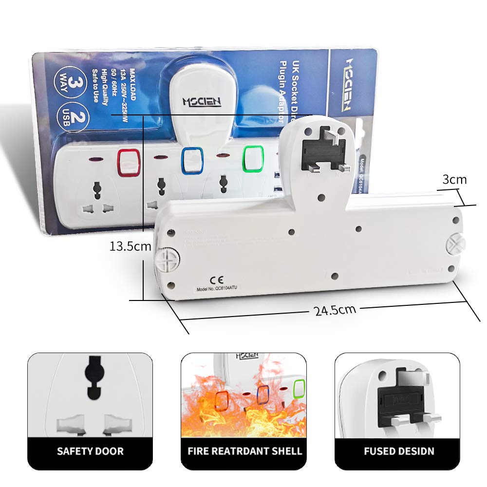 Mscien 3 Way Plug Extension with 2 USB Multiplug Wall Socket Extension with Individually Switches and Neon Indicators 13Amp Extension Cord without Cable