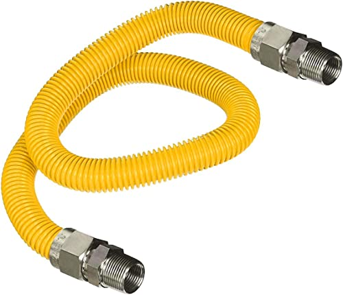 new arrival Highcraft GUHD-ZD14-24H Gas Line Hose 3/8'' O.D. x 24'' online sale Length with 0.38 in. MIP wholesale Fitting, Yellow Coated Stainless Steel Flexible Connector, 24 Inch online