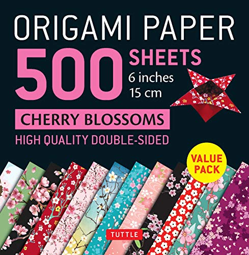 Origami Paper 500 sheets Cherry Blossoms 6 inch (15 cm): Tuttle Origami Paper: High-Quality Double-Sided Origami Sheets Printed with 12 Different ... for 6 Projects Included) (Stationery)