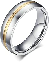 ANAZOZ 6MM Stainless Steel Silver and Gold Tone Matte Finished Wedding Ring Promise Comfort Fit