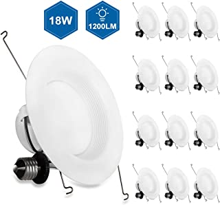 JJC 12 Pack 5/6 inch LED Recessed Lighting,Baffle Trim,18W(75W Equiv.) Dimmable LED Can Lights,5000K-Daylight White, 1200LM CRI 90,Energy Star Certified&ETL-Listed