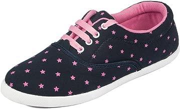 Asian shoes LR-23 Navy Blue Pink Canvas Women Shoes