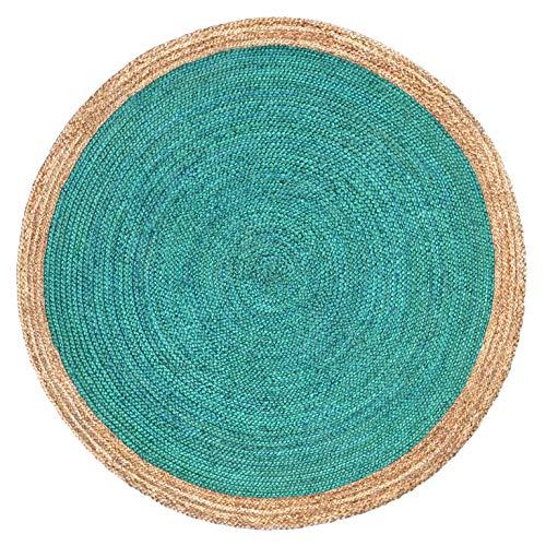 Alfombra hecha a mano de Green Decore, con yute trenzado, redonda, yute, Oculus Turquoise, 120 cm Diameter