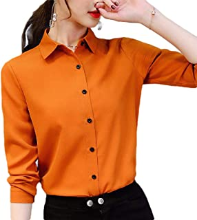 Howely Women Trim-Fit Chiffon Button Down Stylish Long Sleeve Pure Colour Tops
