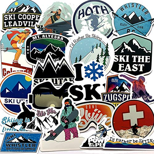 Winter Skiing Snow Mountain Graffiti Stickers for Luggage Laptop Skateboard Snowboard Refrigerator Ski Decal Stickers 50Pcs Pack