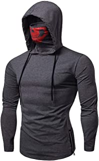 ZEFOTIM Mens Mask Skull Pure Color Pullover Long Sleeve Hooded Sweatshirt Tops Blouse