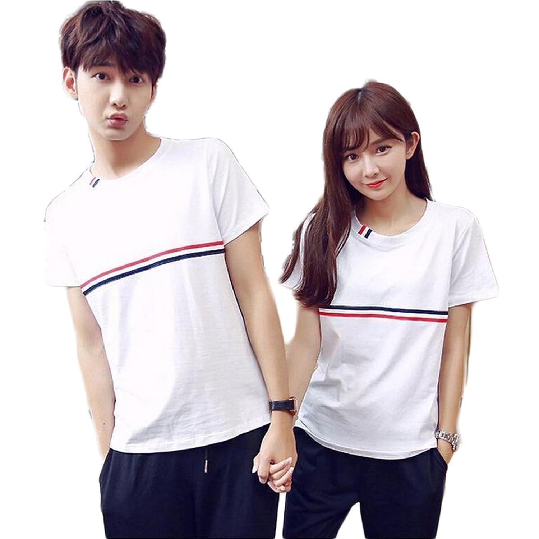 (JUTAOPIN)カップル ペアルック tシャツ 半袖 人気 ペアルック カップル お揃い プレゼント 服 夏 tシャツ ホワイト パーカー トレーナー