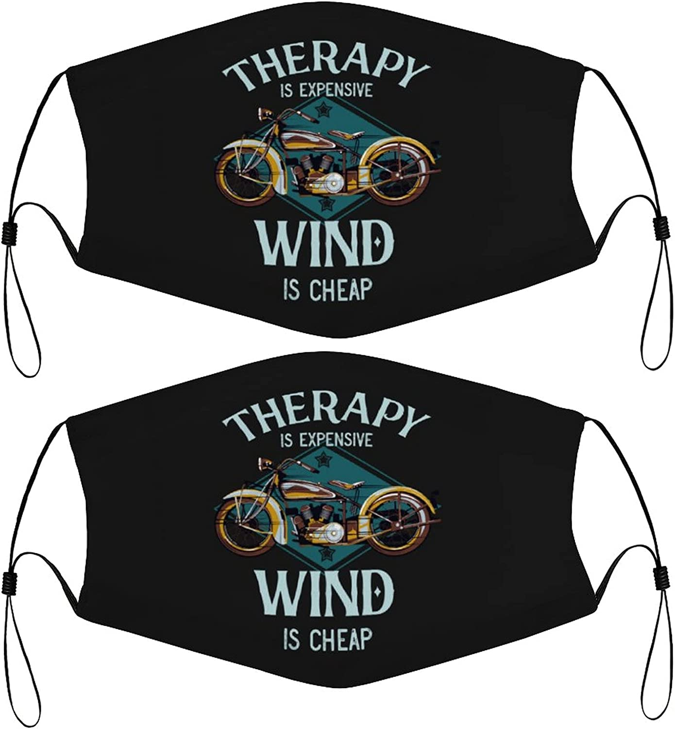 Therapy Motorcycle Kids Face Masks Set of 2 with 4 Filters Washable Reusable Breathable Black Cloth Bandanas Scarf for Unisex Boys Girls