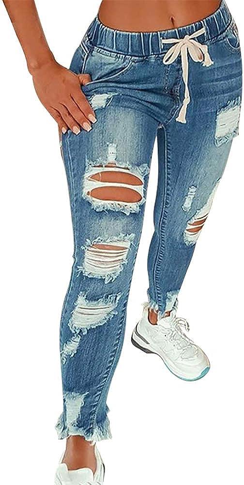 KUNMI Women High Waist Skinny Stretch Ripped Jeans Destroyed Denim Pants Plus Size
