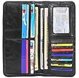 Leamekor Men's Vintage Genuine Leather Long Wallets Bifold Wallet For Men