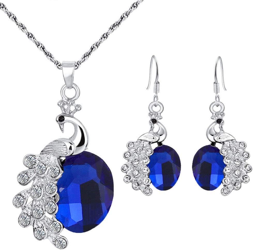 Cngstar Elegant Jewelry Set for Women Teardrop Clear Cubic Zirconia Crystal Rhinestone Drop Earrings Necklace Bridal Jewelry Sets for Women (Royal Blue)