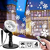 Lightess Projecteur LED de Neige Projecteur de Noël Chute de neige Télécommande Extérieur IP65 Étanche Rotation Lampe de...