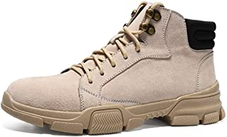 Happy-L Shoes, Outdoor Personality Combat Boots for Men Ankle Shoes Lace Up Style Suede Vamp Super Soft Anti Slip Round Toe Stitched Metal   Decor