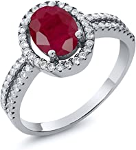Gem Stone King 2.65 Ct Oval Red Ruby Gemstone Birthstone 925 Sterling Silver Engagement Ring (Available 5,6,7,8,9)
