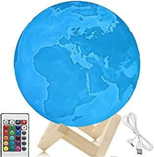 Diameter 7.1 inches Earth Lamp, 3D Printing LED 16 Colors Earth Light, Touch and Remote Control Decorative Earth Night Light