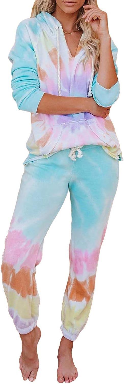 Elapsy Womens Tie Dye Printed Long Sleeve Pajamas Set Soft Top and Pants with Pockets PJ Set Nightwear Sleepwear Loungewear