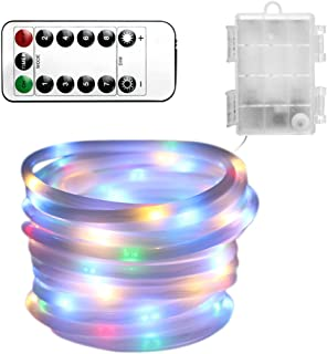 Christmas Rope Light String Lights 100 LED Dimmable Rope Light With Remote Control 8 Modes/Timer Indoor Outdoor Waterproof Light Decor for Garden Wedding Xmas Party Battery Powered (multicolor)